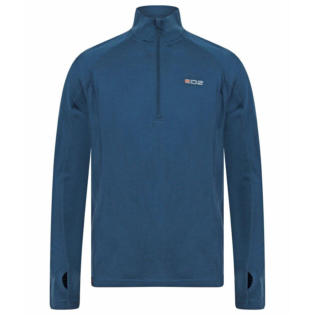 EDZ Men's Merino Wool Base Layer Zip Neck Top Denim Blue 200g